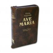 Bíblia Letra Maior Zíper - Marrom